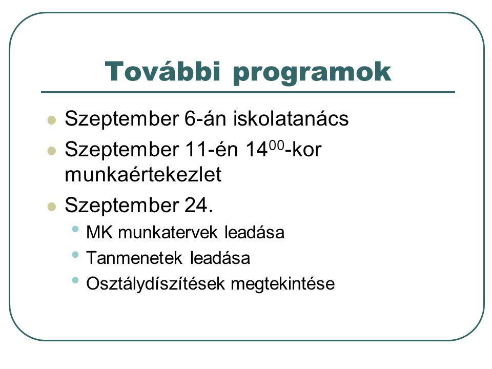 További programok Szeptember 6-án iskolatanács Szeptember 11-én 14 00 -kor munkaértekezlet Szeptember 24.
