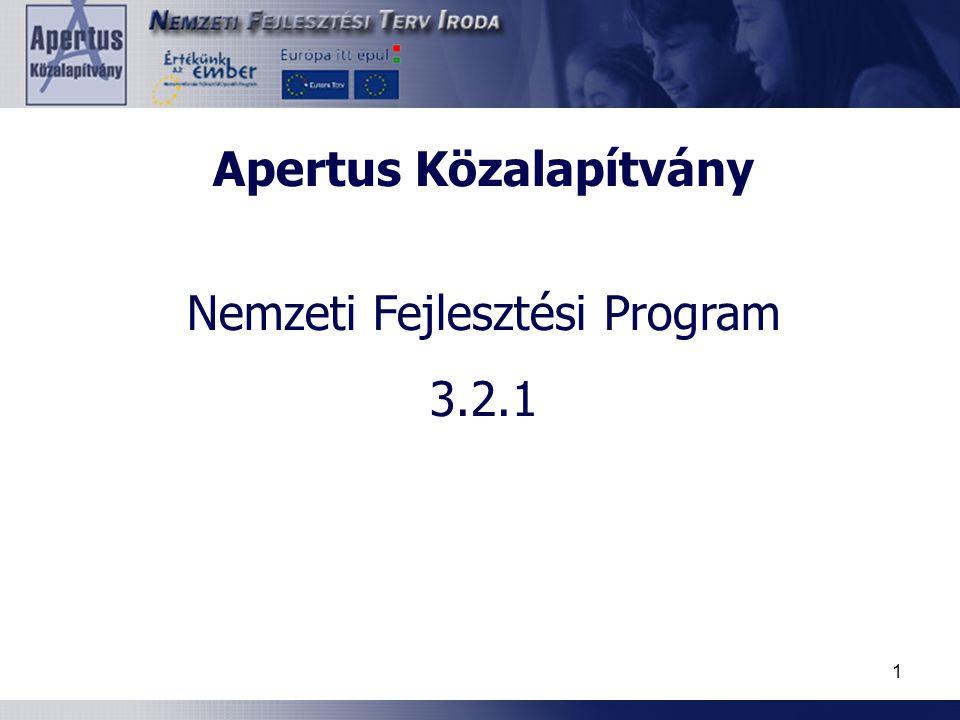 1 Apertus Közalapítvány Nemzeti Fejlesztési Program 3.2.1