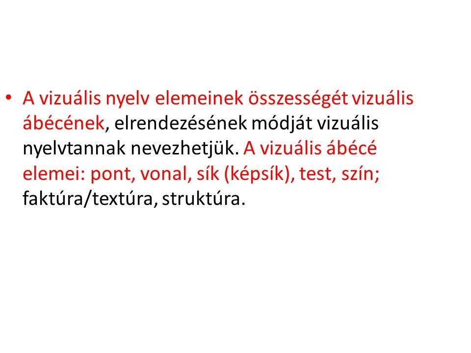 A vizuális nyelv elemeinek összességét vizuális ábécének, elrendezésének módját vizuális nyelvtannak nevezhetjük. A vizuális ábécé elemei: pont, vonal