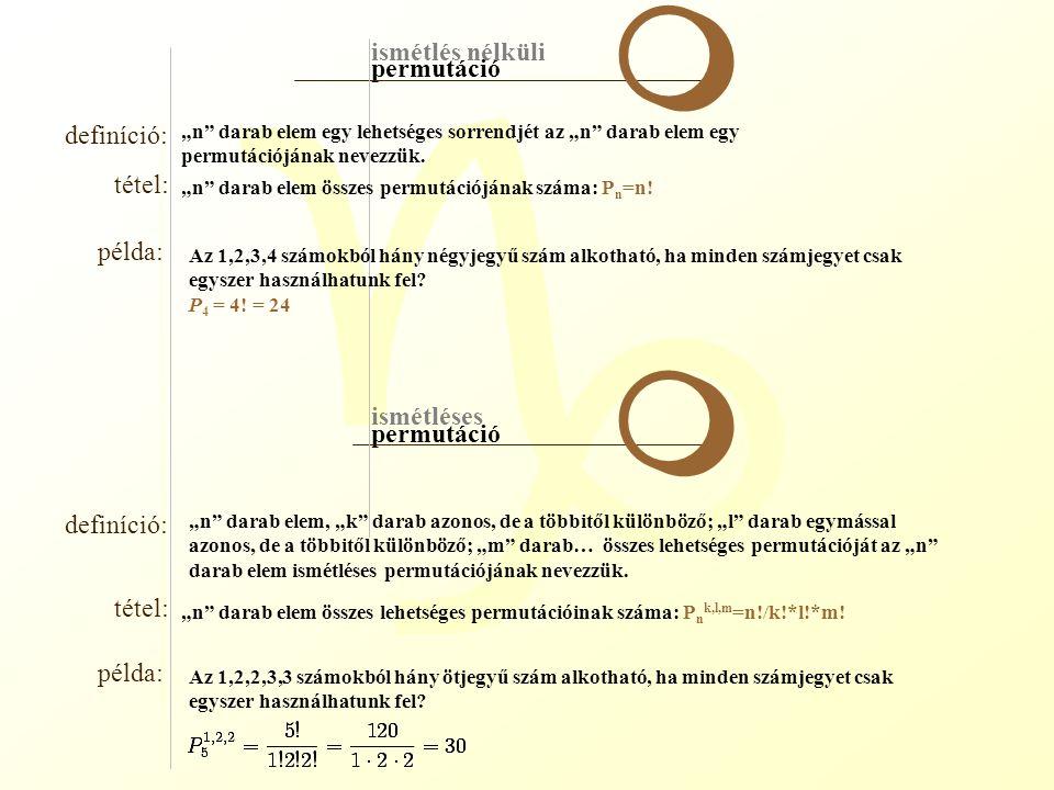 """g ismétlés nélküli ismétléses variáció definíció: tétel: példa: definíció: tétel: példa: m m ha """"n különböző elemből kiválasztunk """"k -t, és vesszük ezek egy sorrendjét, akkor ezt az """"n elem """"k -ad osztályú variációjának nevezzük."""
