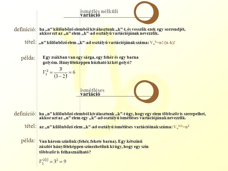 """g ismétlés nélküli ismétléses variáció definíció: tétel: példa: definíció: tétel: példa: m m ha """"n"""" különböző elemből kiválasztunk """"k""""-t, és vesszük e"""