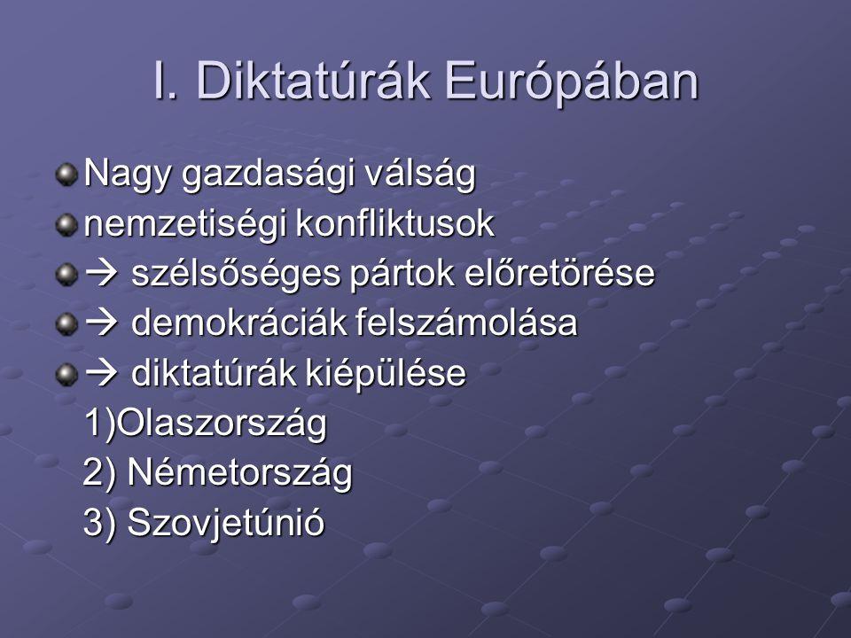 I. Diktatúrák Európában Nagy gazdasági válság nemzetiségi konfliktusok  szélsőséges pártok előretörése  demokráciák felszámolása  diktatúrák kiépül