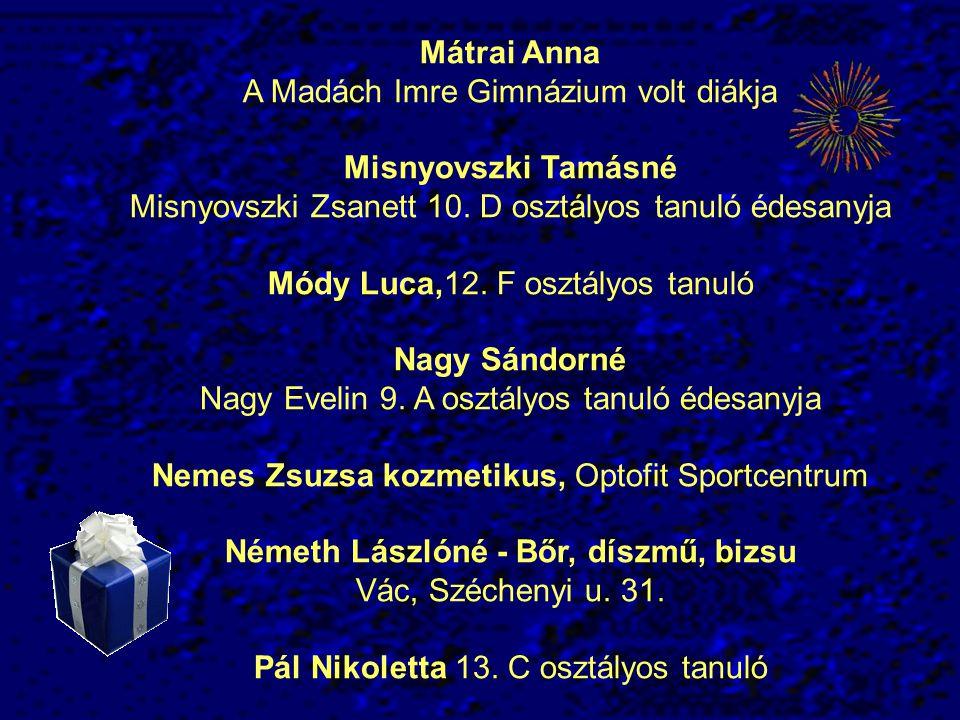 Mátrai Anna A Madách Imre Gimnázium volt diákja Misnyovszki Tamásné Misnyovszki Zsanett 10. D osztályos tanuló édesanyja Módy Luca,12. F osztályos tan