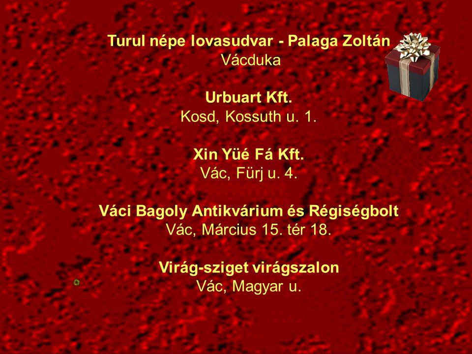 Turul népe lovasudvar - Palaga Zoltán Vácduka Urbuart Kft. Kosd, Kossuth u. 1. Xin Yüé Fá Kft. Vác, Fürj u. 4. Váci Bagoly Antikvárium és Régiségbolt