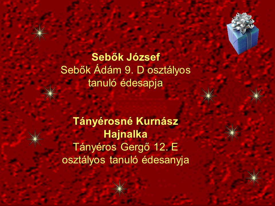 Sebők József Sebők Ádám 9. D osztályos tanuló édesapja Tányérosné Kurnász Hajnalka Tányéros Gergő 12. E osztályos tanuló édesanyja