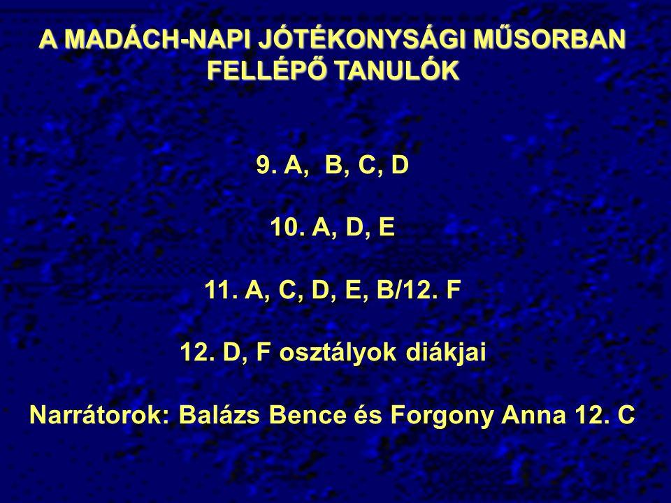 A MADÁCH-NAPI JÓTÉKONYSÁGI MŰSORBAN FELLÉPŐ TANULÓK 9. A, B, C, D 10. A, D, E 11. A, C, D, E, B/12. F 12. D, F osztályok diákjai Narrátorok: Balázs Be