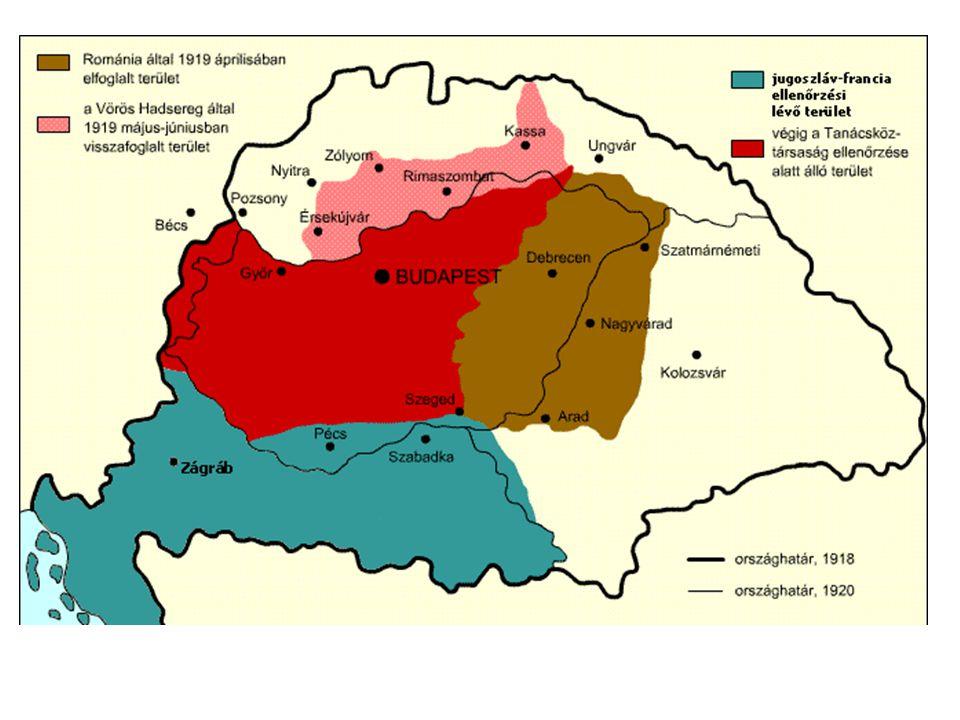 A Magyar Tanácsköztársaság kikiáltása (március 21.)  szovjet típusú diktatórikus államforma a Forradalmi Kormányzótanács megalakítása: (1) tagjai: népbiztosok (2) elnöke: Garbai Sándor (3) tényleges hatalom: Kun Béla (külügyi népbiztos)