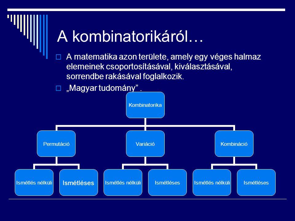 A kombinatorikáról…  A matematika azon területe, amely egy véges halmaz elemeinek csoportosításával, kiválasztásával, sorrendbe rakásával foglalkozik.