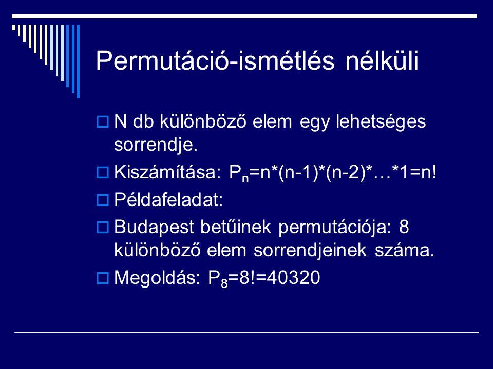 Permutáció-ismétlés nélküli  N db különböző elem egy lehetséges sorrendje.  Kiszámítása: P n =n*(n-1)*(n-2)*…*1=n!  Példafeladat:  Budapest betűin