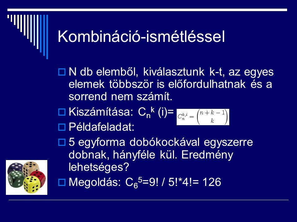 Kombináció-ismétléssel  N db elemből, kiválasztunk k-t, az egyes elemek többször is előfordulhatnak és a sorrend nem számít.  Kiszámítása: C n k (i)