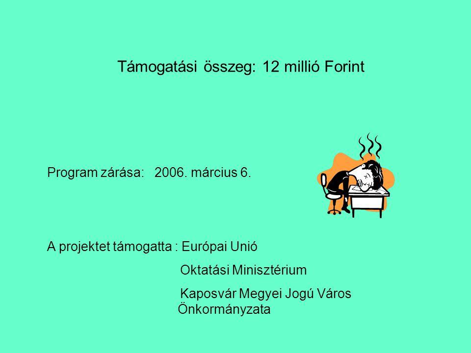 Támogatási összeg: 12 millió Forint Program zárása: 2006.