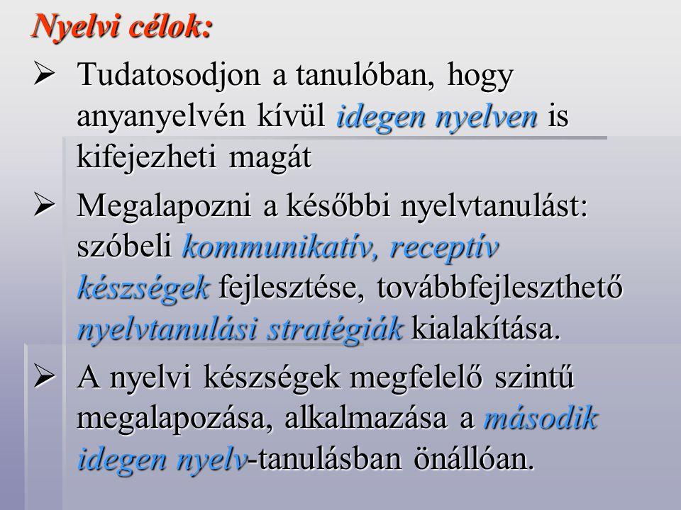 Nyelvi célok:  Tudatosodjon a tanulóban, hogy anyanyelvén kívül idegen nyelven is kifejezheti magát  Megalapozni a későbbi nyelvtanulást: szóbeli kommunikatív, receptív készségek fejlesztése, továbbfejleszthető nyelvtanulási stratégiák kialakítása.