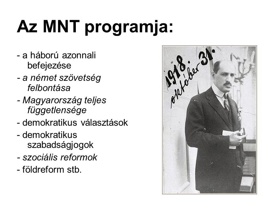 Az MNT programja: - a háború azonnali befejezése - a német szövetség felbontása - Magyarország teljes függetlensége - demokratikus választások - demok