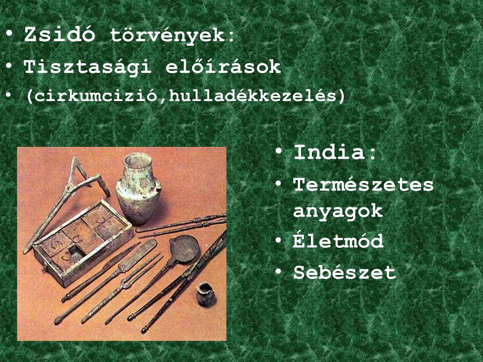 Görögök: Európa legfejlettebb orvoslása Gyógyszerek Vándor orvosok Gépek használata Orvosi iskolák: Kos-szigeti iskola Hippokrates Hippokratészi iskola Corpus Hippocraticum