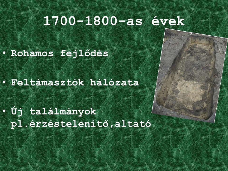 1700-1800-as évek Rohamos fejlődés Feltámasztók hálózata Új találmányok pl.érzéstelenítő,altató