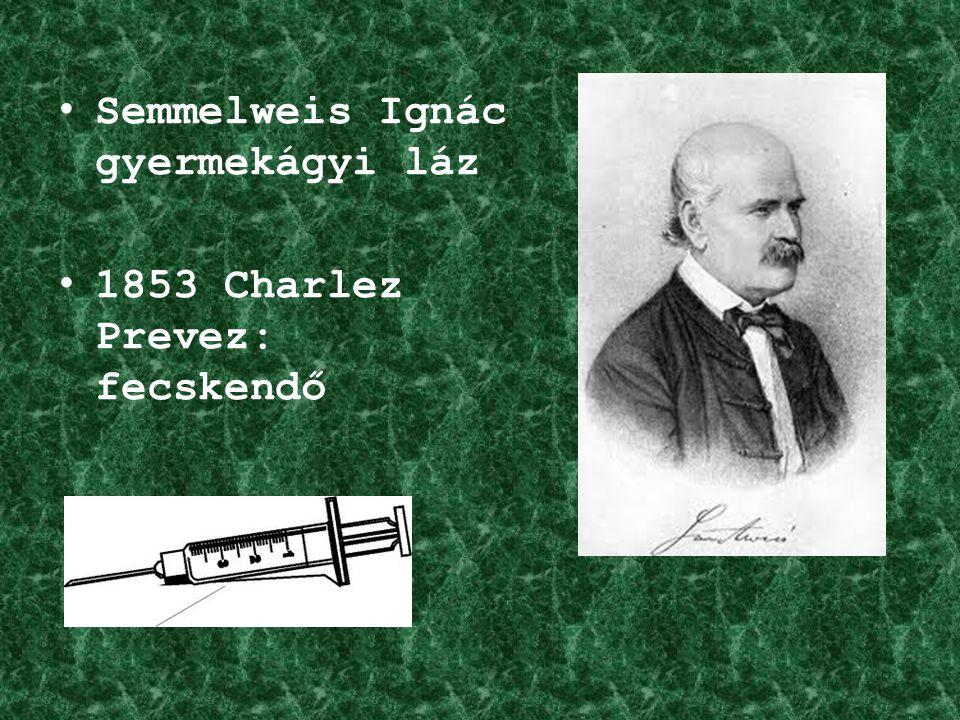 Semmelweis Ignác gyermekágyi láz 1853 Charlez Prevez: fecskendő
