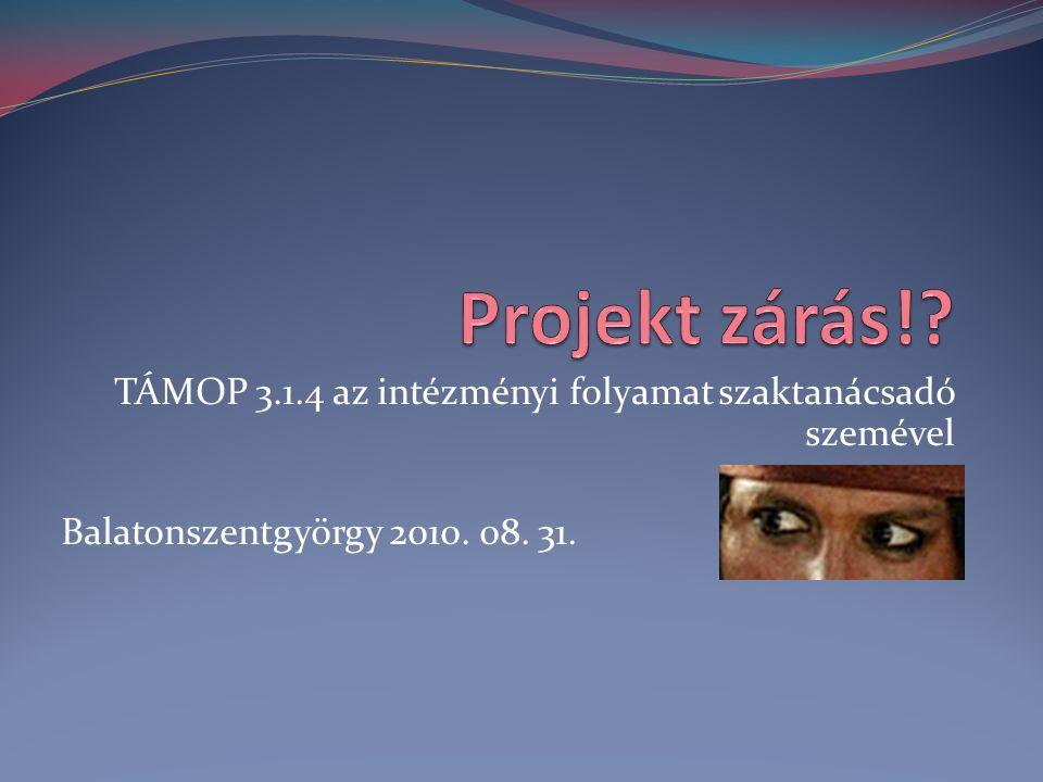 TÁMOP 3.1.4 az intézményi folyamat szaktanácsadó szemével Balatonszentgyörgy 2010. 08. 31.