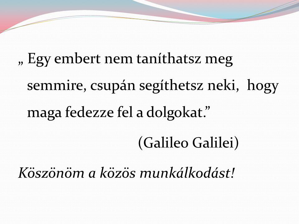 """"""" Egy embert nem taníthatsz meg semmire, csupán segíthetsz neki, hogy maga fedezze fel a dolgokat."""" (Galileo Galilei) Köszönöm a közös munkálkodást!"""
