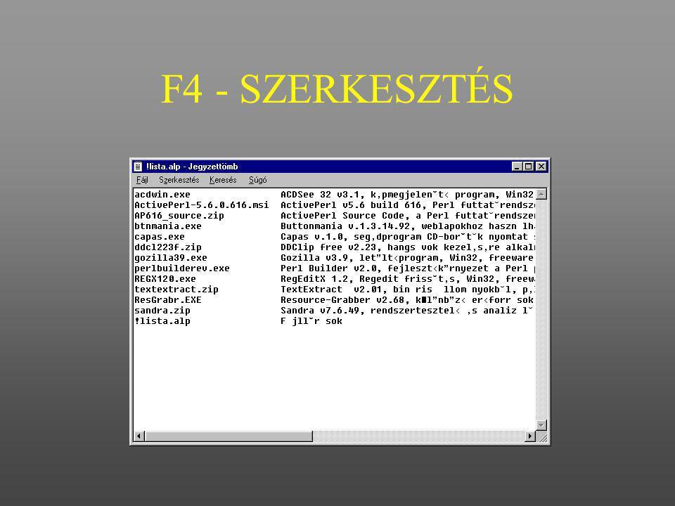 F4 - SZERKESZTÉS