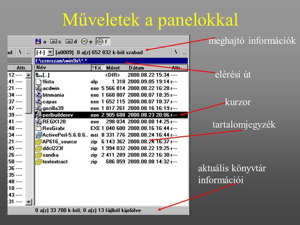 Műveletek a panelokkal meghajtó információk tartalomjegyzék kurzor elérési út aktuális könyvtár információi