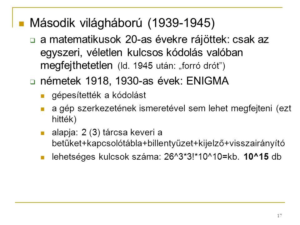 17 Második világháború (1939-1945)  a matematikusok 20-as évekre rájöttek: csak az egyszeri, véletlen kulcsos kódolás valóban megfejthetetlen (ld. 19
