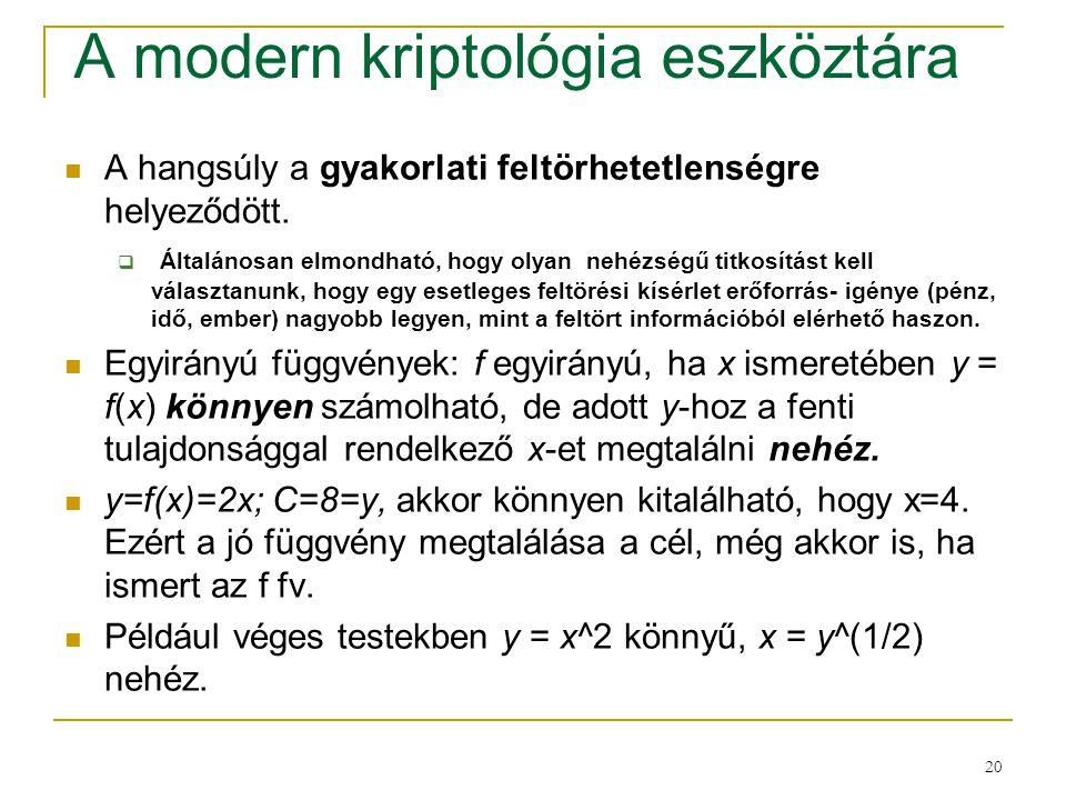 20 A modern kriptológia eszköztára A hangsúly a gyakorlati feltörhetetlenségre helyeződött.  Általánosan elmondható, hogy olyan nehézségű titkosítást
