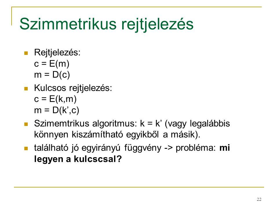 22 Szimmetrikus rejtjelezés Rejtjelezés: c = E(m) m = D(c) Kulcsos rejtjelezés: c = E(k,m) m = D(k',c) Szimemtrikus algoritmus: k = k' (vagy legalábbi