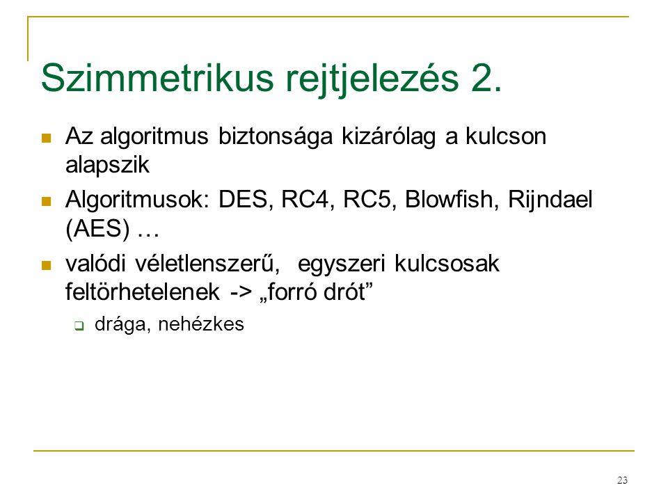 23 Szimmetrikus rejtjelezés 2. Az algoritmus biztonsága kizárólag a kulcson alapszik Algoritmusok: DES, RC4, RC5, Blowfish, Rijndael (AES) … valódi vé