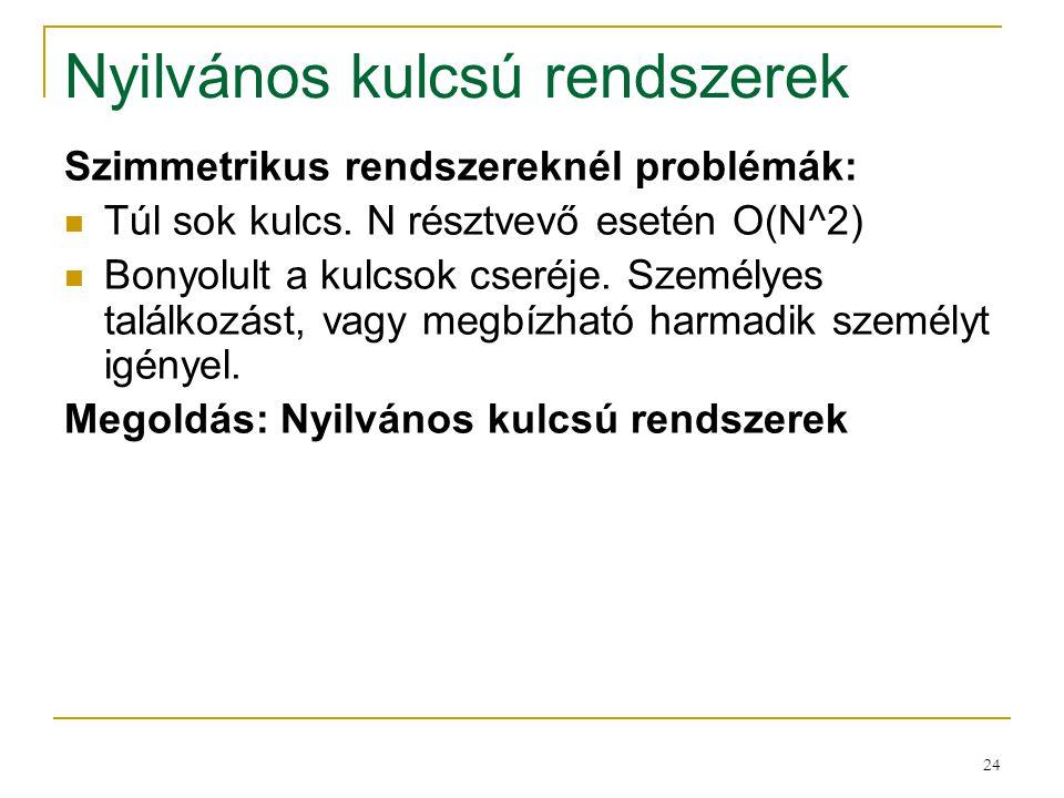 24 Nyilvános kulcsú rendszerek Szimmetrikus rendszereknél problémák: Túl sok kulcs. N résztvevő esetén O(N^2) Bonyolult a kulcsok cseréje. Személyes t