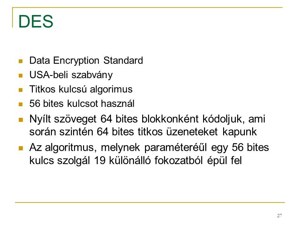 27 DES Data Encryption Standard USA-beli szabvány Titkos kulcsú algorimus 56 bites kulcsot használ Nyílt szöveget 64 bites blokkonként kódoljuk, ami s