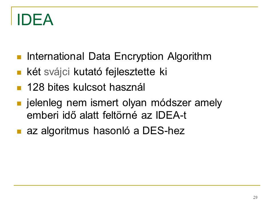 29 IDEA International Data Encryption Algorithm két svájci kutató fejlesztette ki 128 bites kulcsot használ jelenleg nem ismert olyan módszer amely em