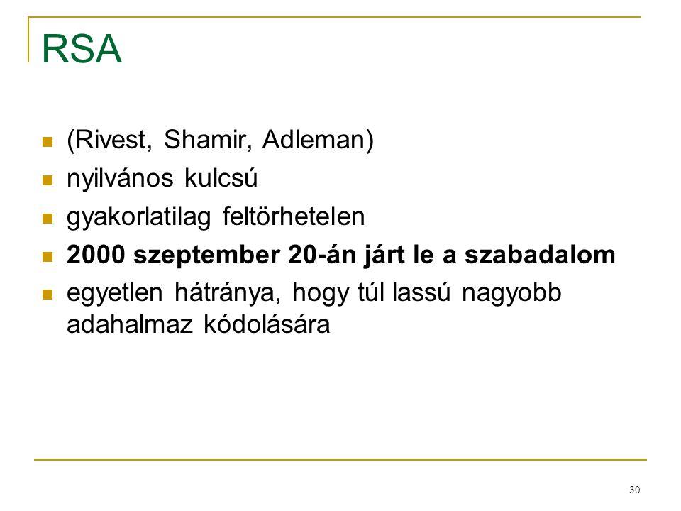 30 RSA (Rivest, Shamir, Adleman) nyilvános kulcsú gyakorlatilag feltörhetelen 2000 szeptember 20-án járt le a szabadalom egyetlen hátránya, hogy túl l