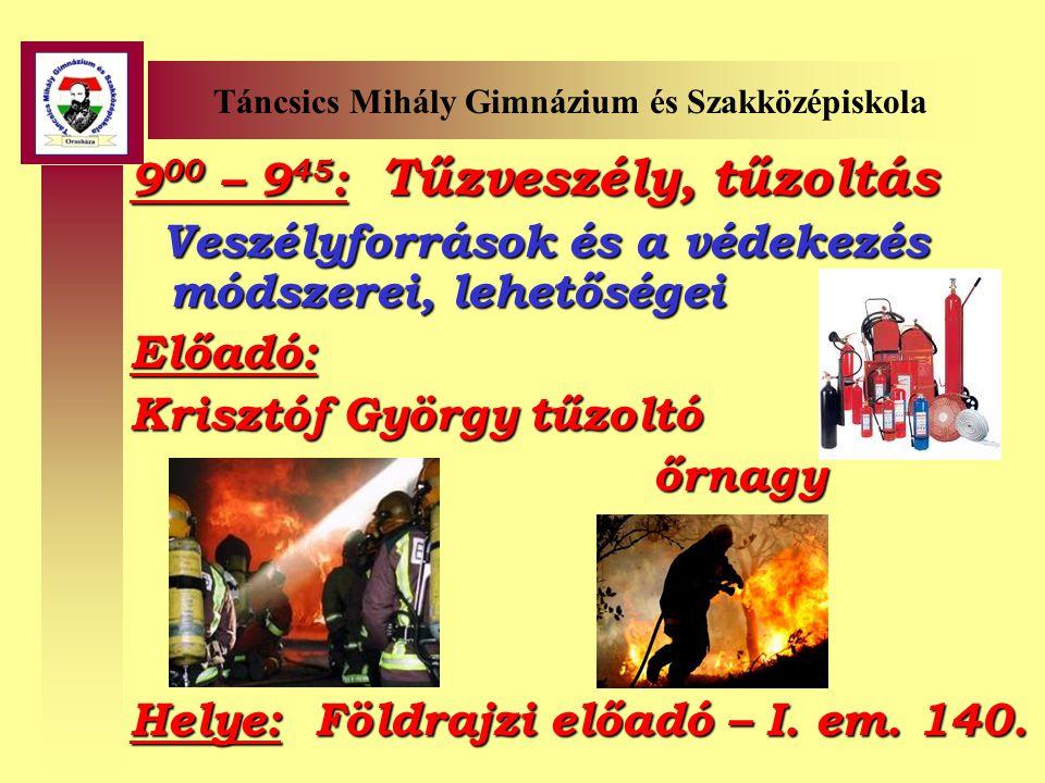 Táncsics Mihály Gimnázium és Szakközépiskola 9 00 – 12 00 : Mire vagyok képes.