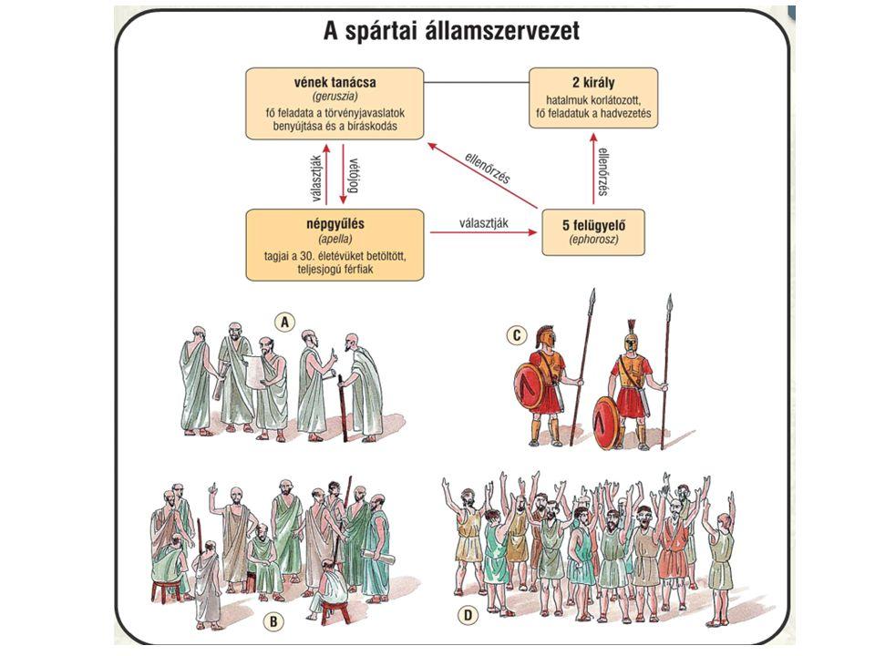 III.A spártai államszervezet A polisz élén a 2 király állt, ők voltak a hadvezérek is.