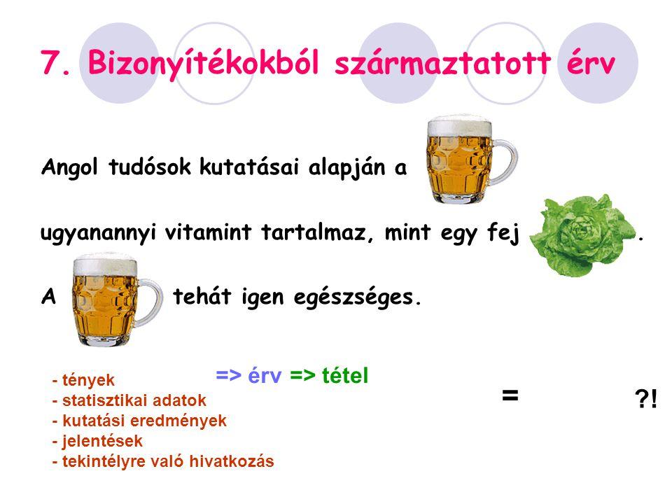 7. Bizonyítékokból származtatott érv Angol tudósok kutatásai alapján a ugyanannyi vitamint tartalmaz, mint egy fej. A tehát igen egészséges. - tények