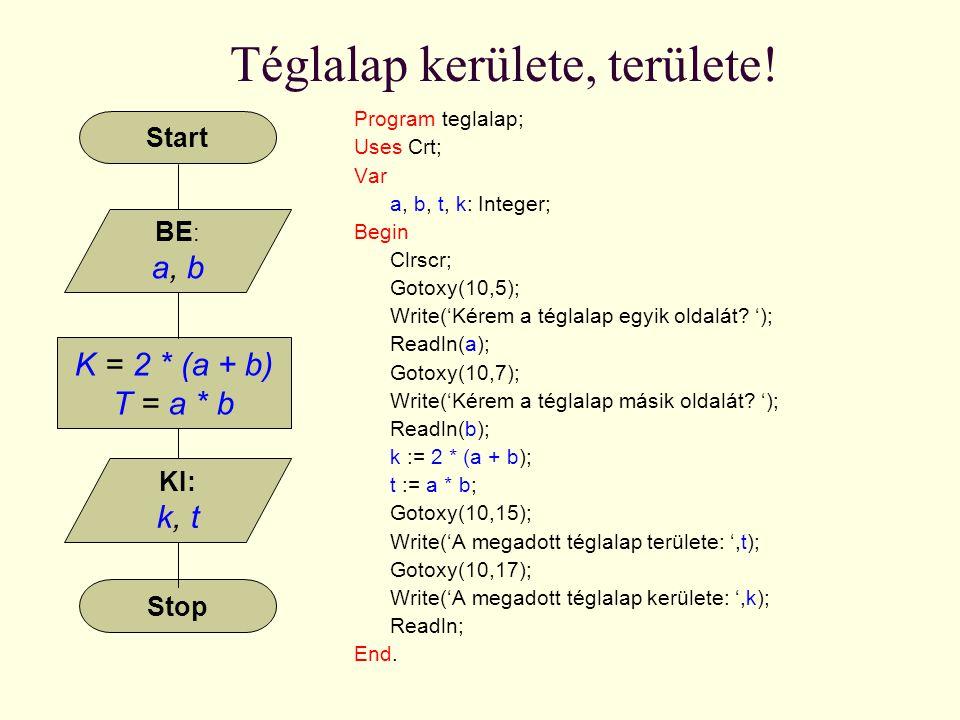 Téglalap kerülete, területe! Program teglalap; Uses Crt; Var a, b, t, k: Integer; Begin Clrscr; Gotoxy(10,5); Write('Kérem a téglalap egyik oldalát? '