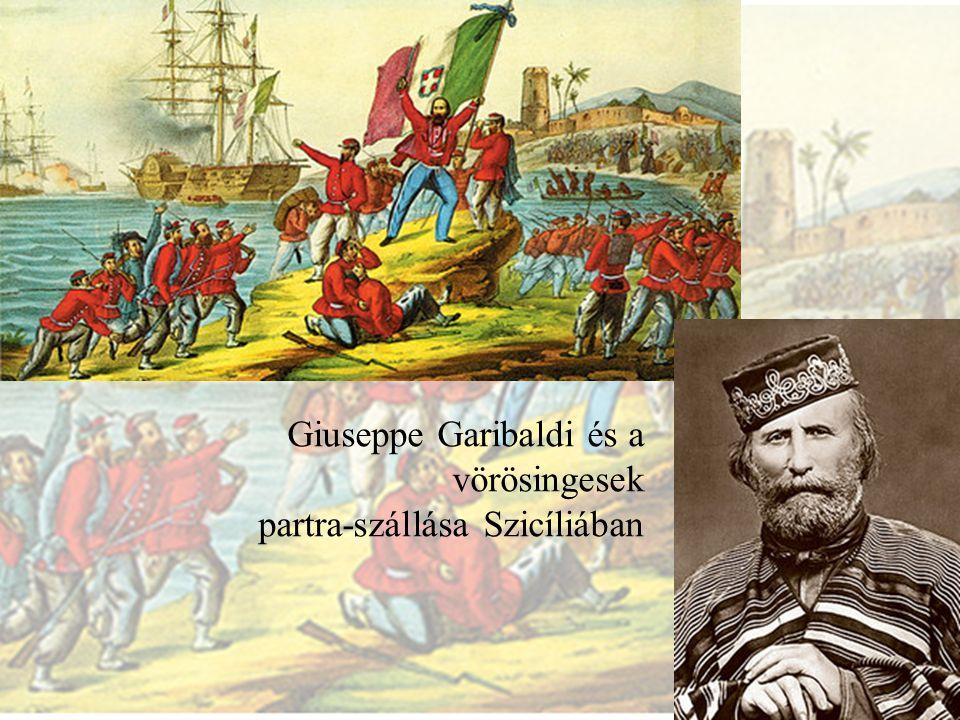 Giuseppe Garibaldi és a vörösingesek partra-szállása Szicíliában