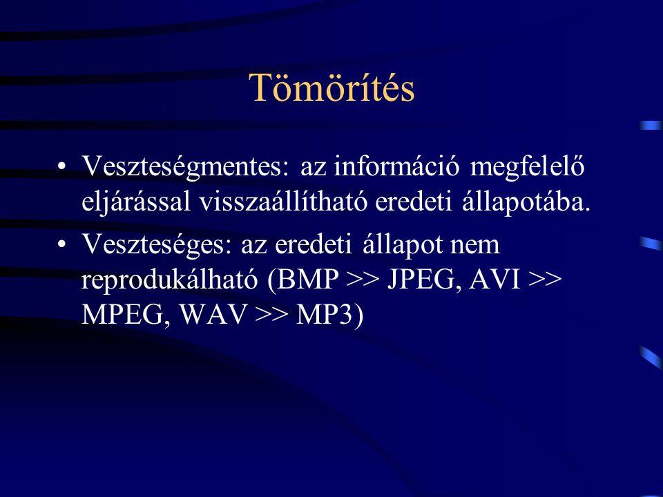 Tömörítés Veszteségmentes: az információ megfelelő eljárással visszaállítható eredeti állapotába. Veszteséges: az eredeti állapot nem reprodukálható (