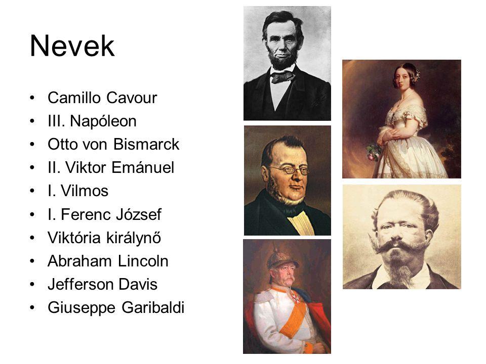 Nevek Camillo Cavour III.Napóleon Otto von Bismarck II.