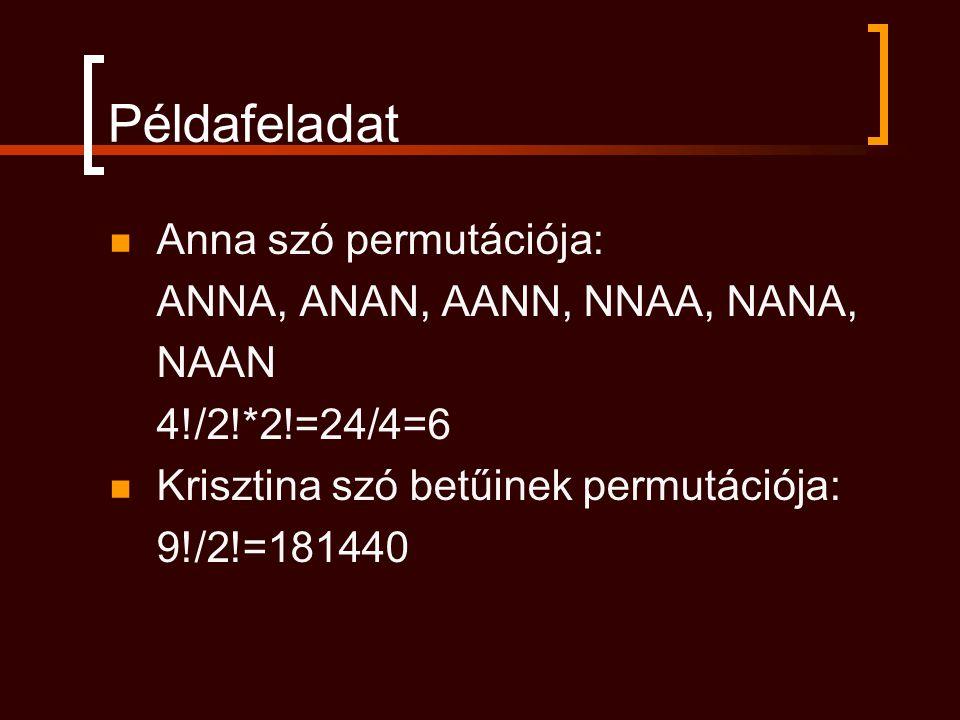 Példafeladat Anna szó permutációja: ANNA, ANAN, AANN, NNAA, NANA, NAAN 4!/2!*2!=24/4=6 Krisztina szó betűinek permutációja: 9!/2!=181440