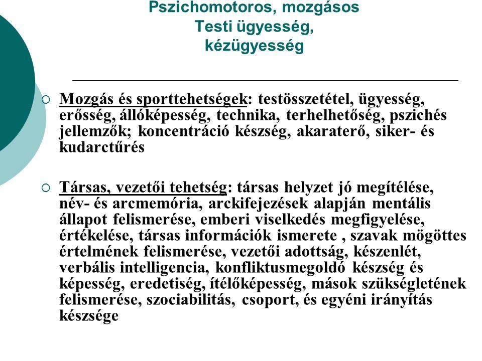 Pszichomotoros, mozgásos Testi ügyesség, kézügyesség  Mozgás és sporttehetségek: testösszetétel, ügyesség, erősség, állóképesség, technika, terhelhet