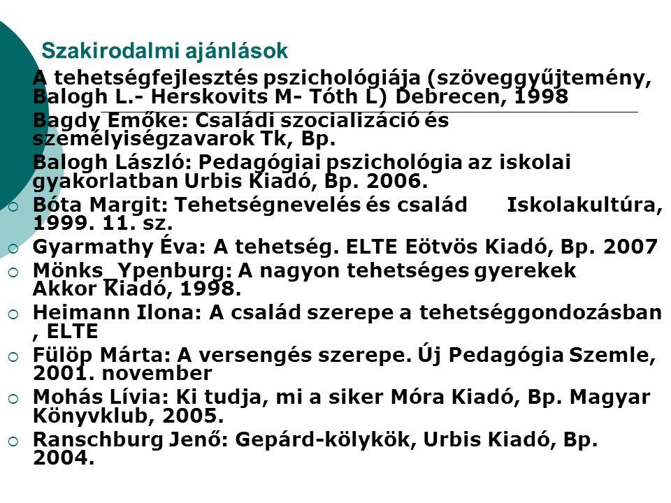 Szakirodalmi ajánlások  A tehetségfejlesztés pszichológiája (szöveggyűjtemény, Balogh L.- Herskovits M- Tóth L) Debrecen, 1998  Bagdy Emőke: Családi