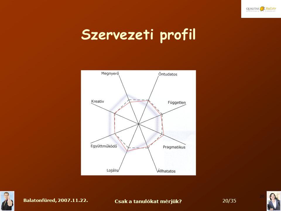 Balatonfüred, 2007.11.22. Csak a tanulókat mérjük 20/35 20 Szervezeti profil