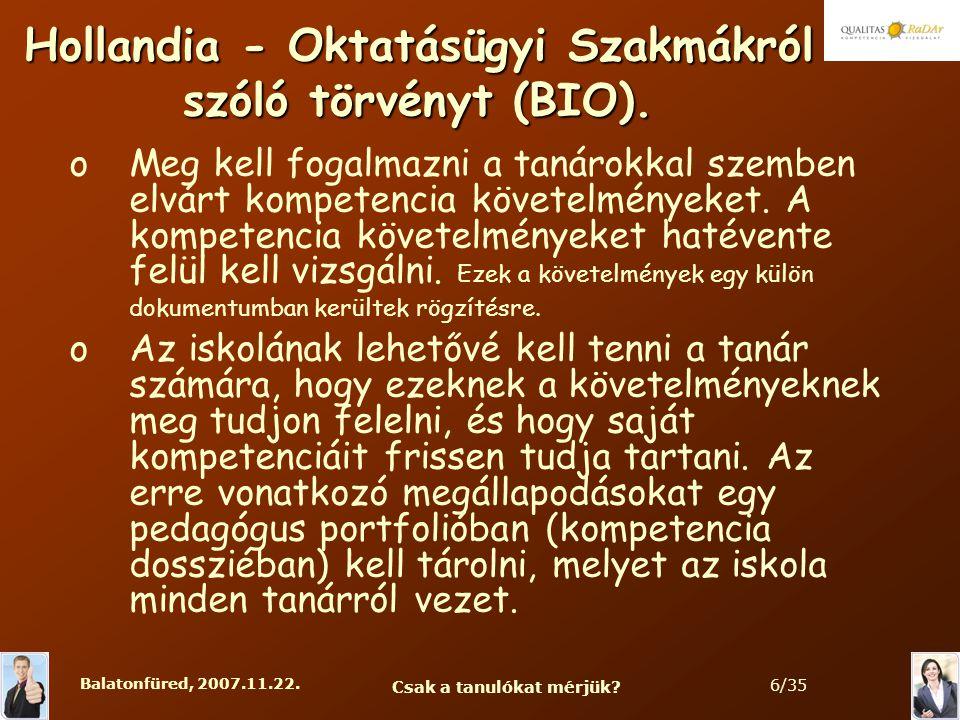 Balatonfüred, 2007.11.22. Csak a tanulókat mérjük.