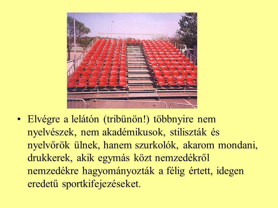 Elvégre a lelátón (tribünön!) többnyire nem nyelvészek, nem akadémikusok, stiliszták és nyelvőrök ülnek, hanem szurkolók, akarom mondani, drukkerek, a