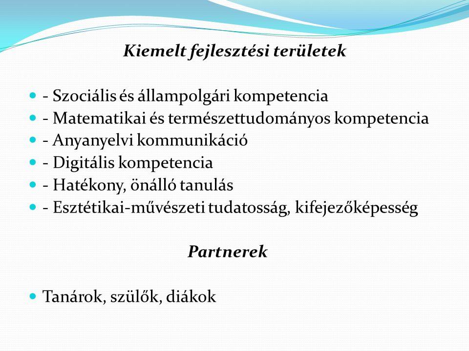 Kiemelt fejlesztési területek - Szociális és állampolgári kompetencia - Matematikai és természettudományos kompetencia - Anyanyelvi kommunikáció - Digitális kompetencia - Hatékony, önálló tanulás - Esztétikai-művészeti tudatosság, kifejezőképesség Partnerek Tanárok, szülők, diákok