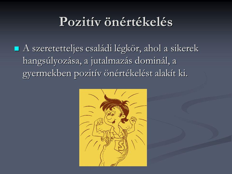 Pozitív önértékelés A szeretetteljes családi légkör, ahol a sikerek hangsúlyozása, a jutalmazás dominál, a gyermekben pozitív önértékelést alakít ki.