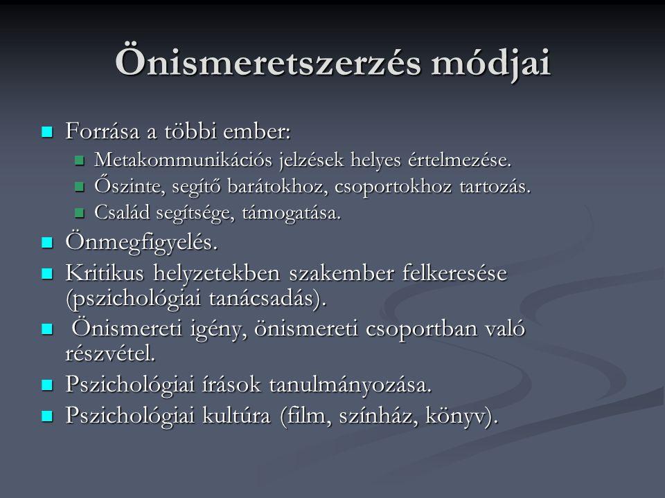 Önismeretszerzés módjai Forrása a többi ember: Forrása a többi ember: Metakommunikációs jelzések helyes értelmezése. Metakommunikációs jelzések helyes