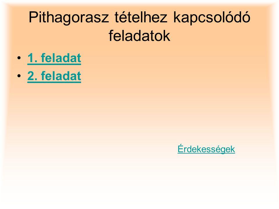 Pithagorasz tételhez kapcsolódó feladatok 1. feladat 2. feladat Érdekességek