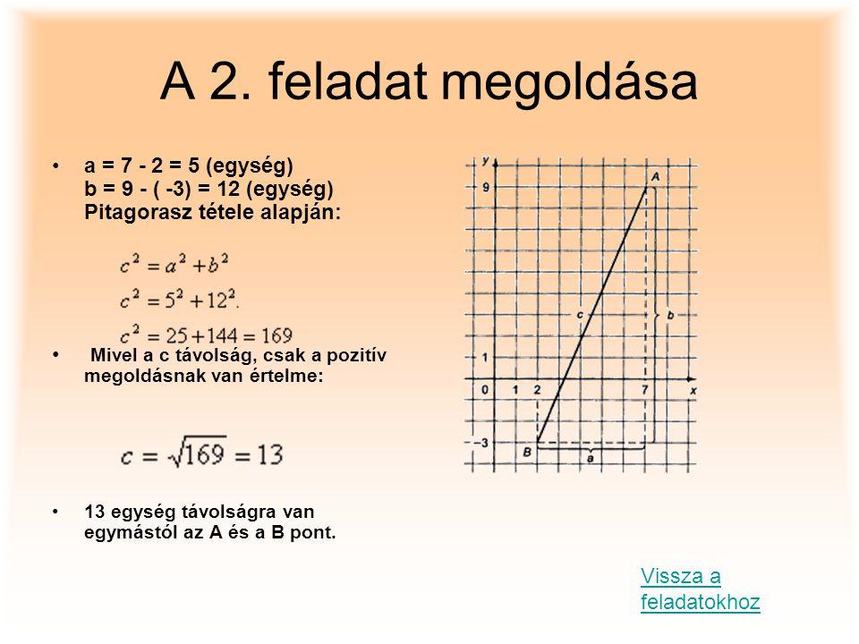 A 2. feladat megoldása a = 7 - 2 = 5 (egység) b = 9 - ( -3) = 12 (egység) Pitagorasz tétele alapján: Mivel a c távolság, csak a pozitív megoldásnak va